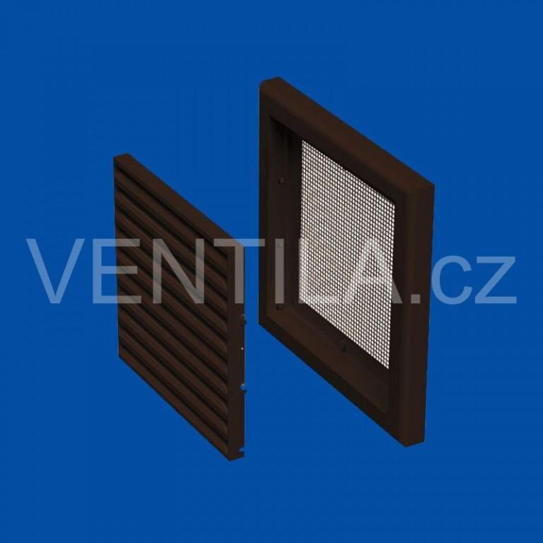 Plastová větrací mřížka VP MV 100 s (se síťkou) - hnědá